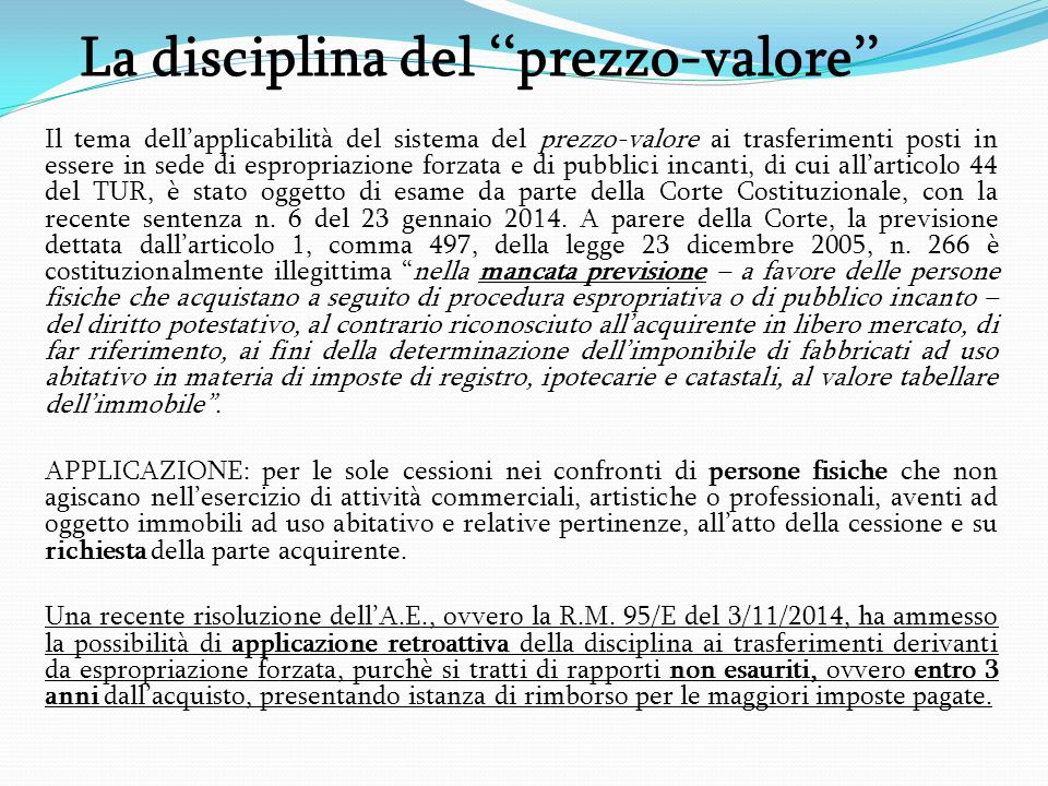 La disciplina del ''prezzo-valore''