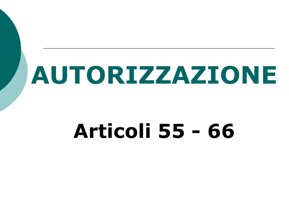 AUTORIZZAZIONE Articoli 55 - 66
