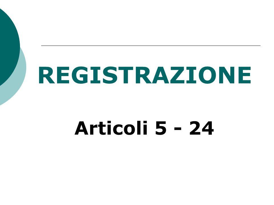 REGISTRAZIONE Articoli 5 - 24