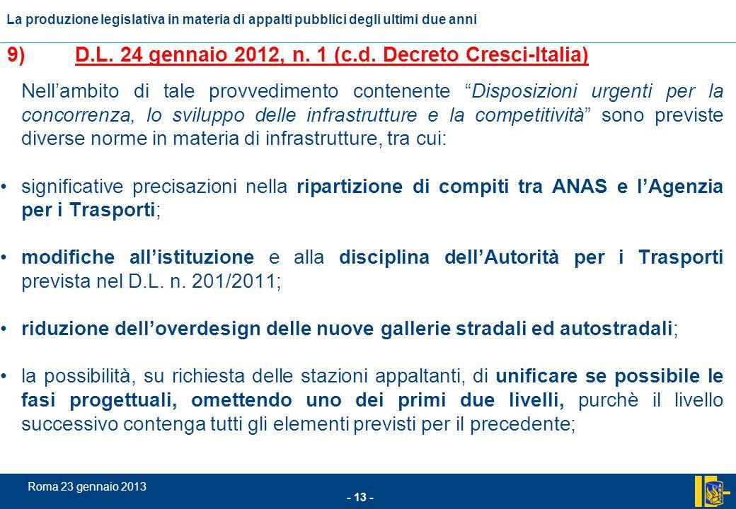9) D.L. 24 gennaio 2012, n. 1 (c.d. Decreto Cresci-Italia)