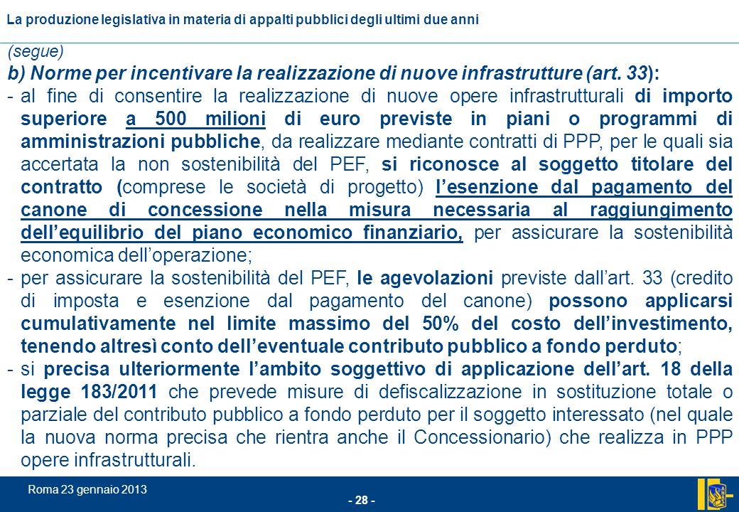 (segue) b) Norme per incentivare la realizzazione di nuove infrastrutture (art. 33):