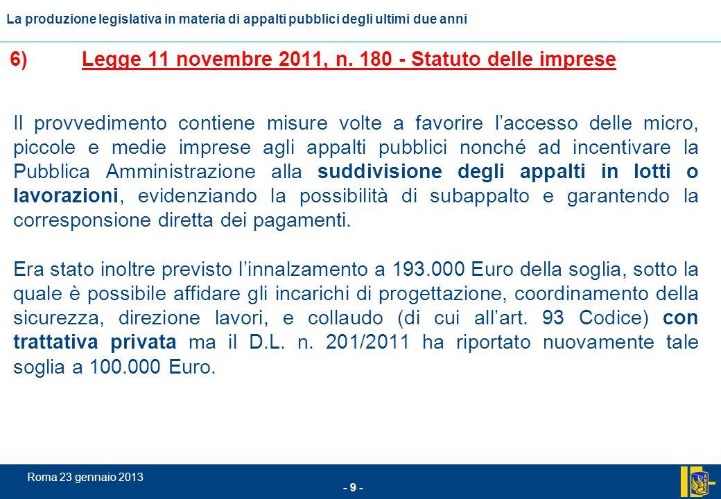 6) Legge 11 novembre 2011, n. 180 - Statuto delle imprese