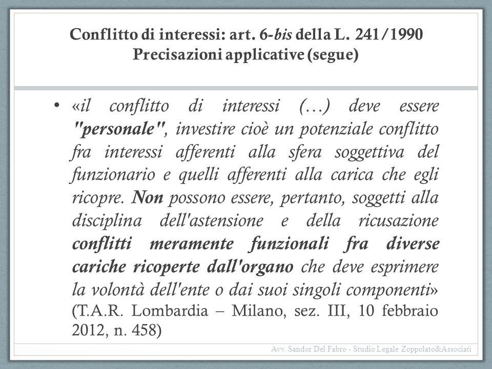 Conflitto di interessi: art. 6-bis della L