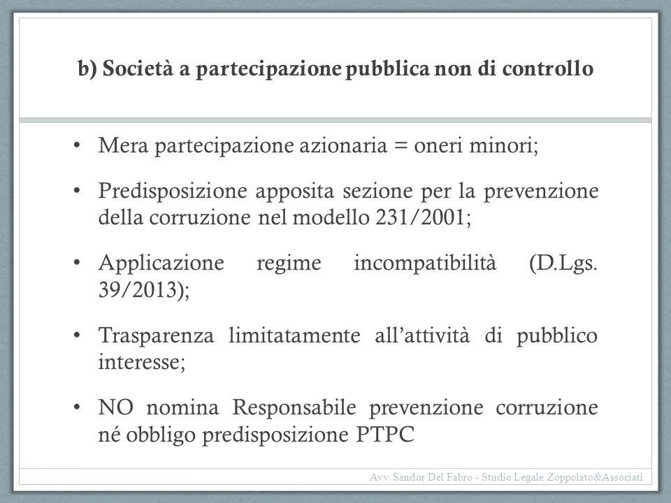 b) Società a partecipazione pubblica non di controllo