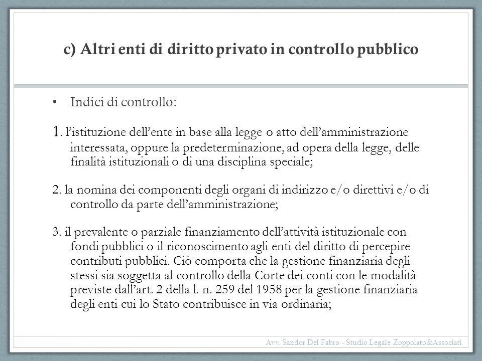 c) Altri enti di diritto privato in controllo pubblico