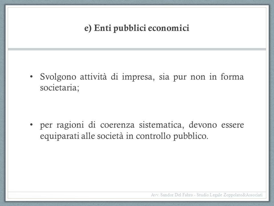 e) Enti pubblici economici