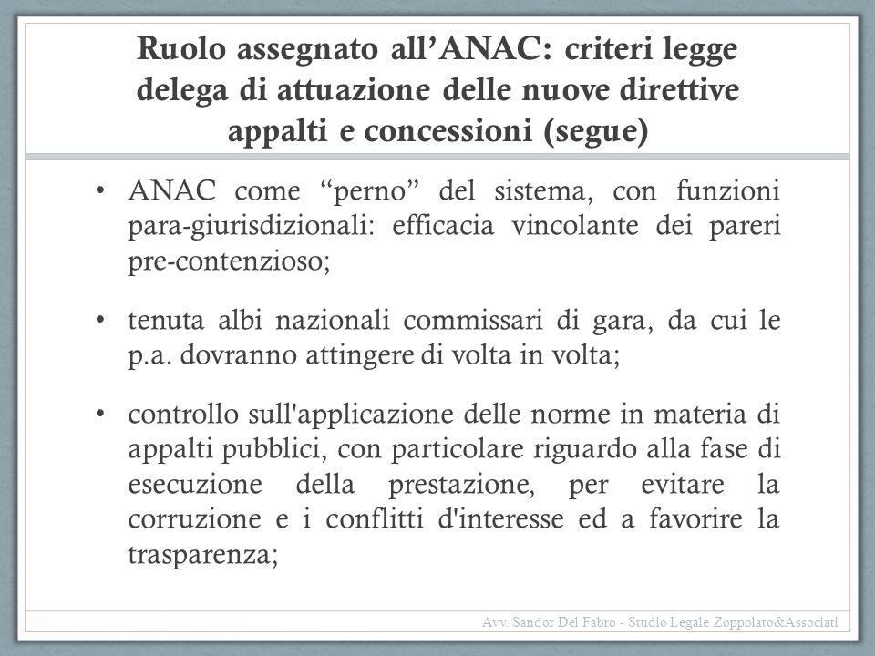 Ruolo assegnato all'ANAC: criteri legge delega di attuazione delle nuove direttive appalti e concessioni (segue)