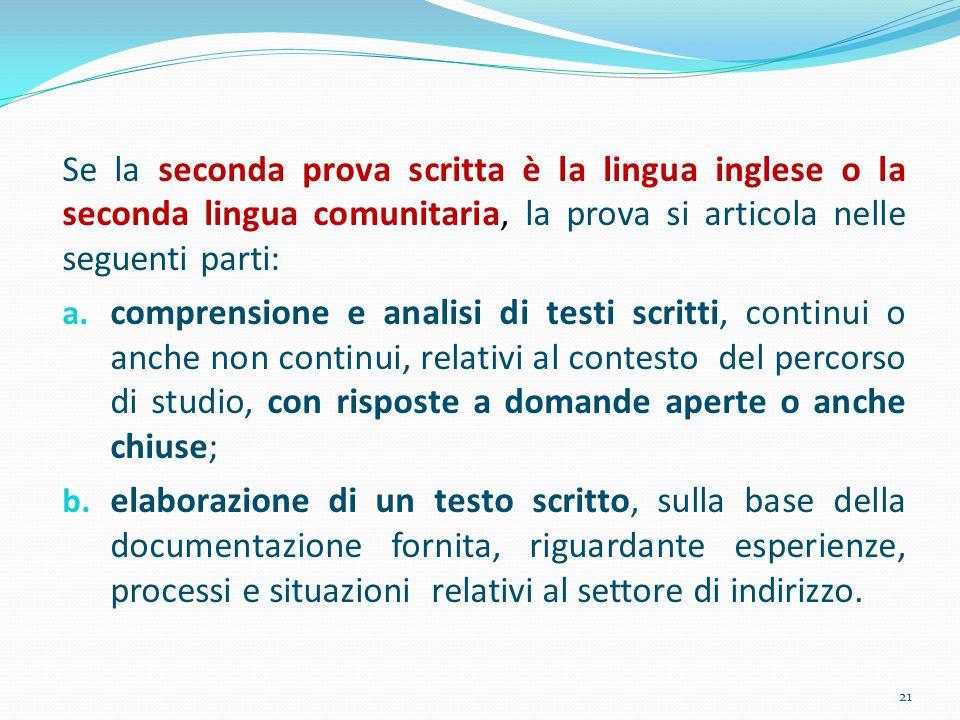 Se la seconda prova scritta è la lingua inglese o la seconda lingua comunitaria, la prova si articola nelle seguenti parti: