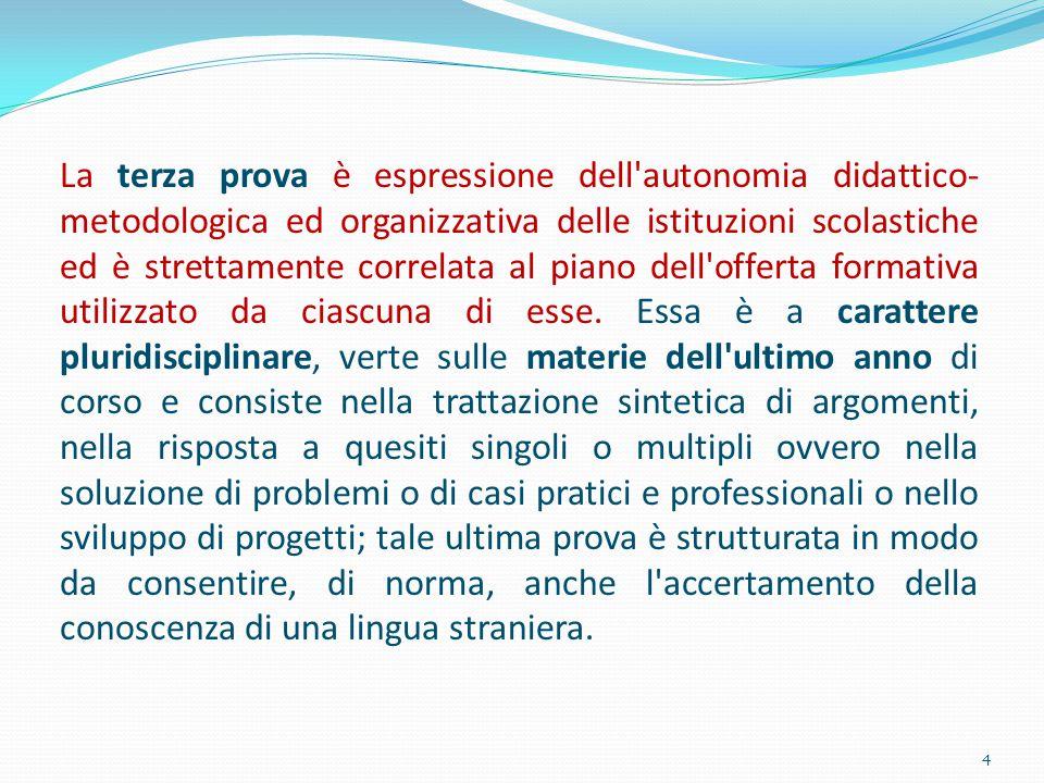 La terza prova è espressione dell autonomia didattico-metodologica ed organizzativa delle istituzioni scolastiche ed è strettamente correlata al piano dell offerta formativa utilizzato da ciascuna di esse.