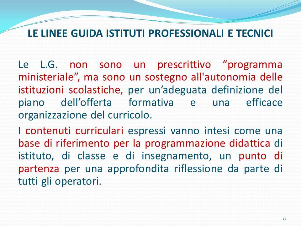 LE LINEE GUIDA ISTITUTI PROFESSIONALI E TECNICI Le L. G