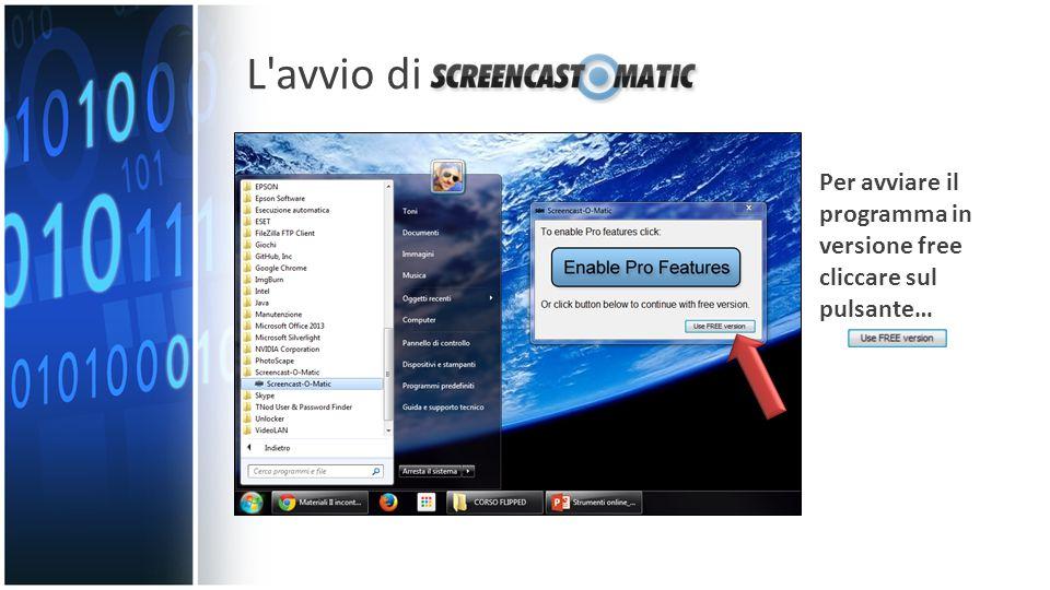 L avvio di Per avviare il programma in versione free cliccare sul pulsante…