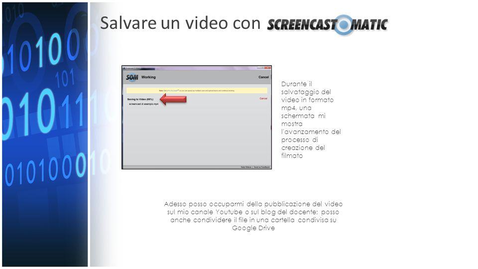 Salvare un video con Durante il salvataggio del video in formato mp4, una schermata mi mostra l avanzamento del processo di creazione del filmato.