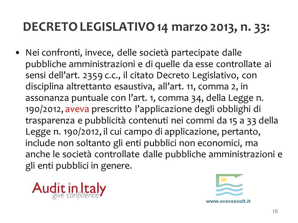DECRETO LEGISLATIVO 14 marzo 2013, n. 33: