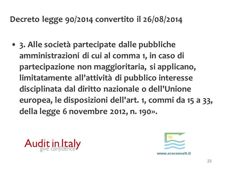 Decreto legge 90/2014 convertito il 26/08/2014