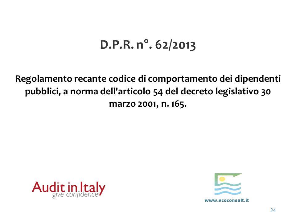 D.P.R. n°. 62/2013
