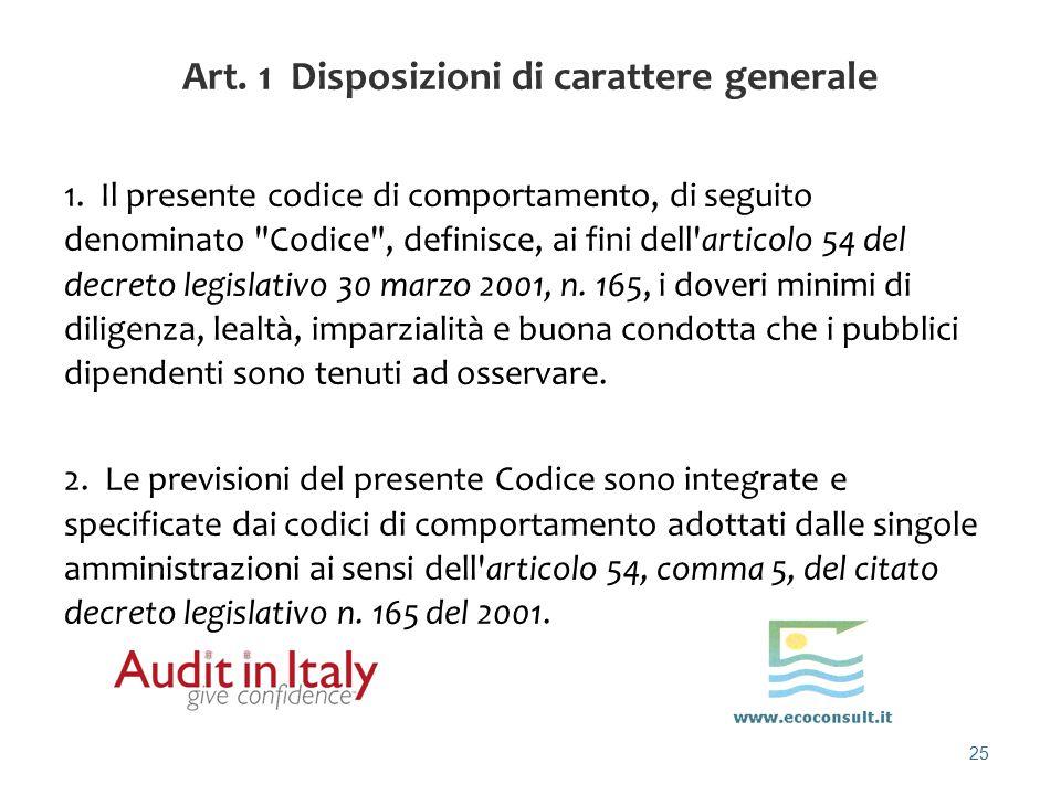 Art. 1 Disposizioni di carattere generale
