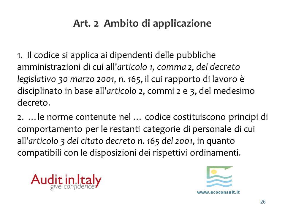 Art. 2 Ambito di applicazione