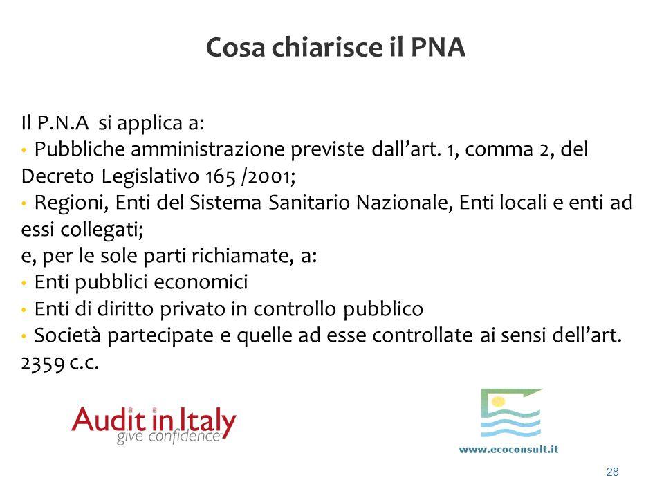 Cosa chiarisce il PNA Il P.N.A si applica a: