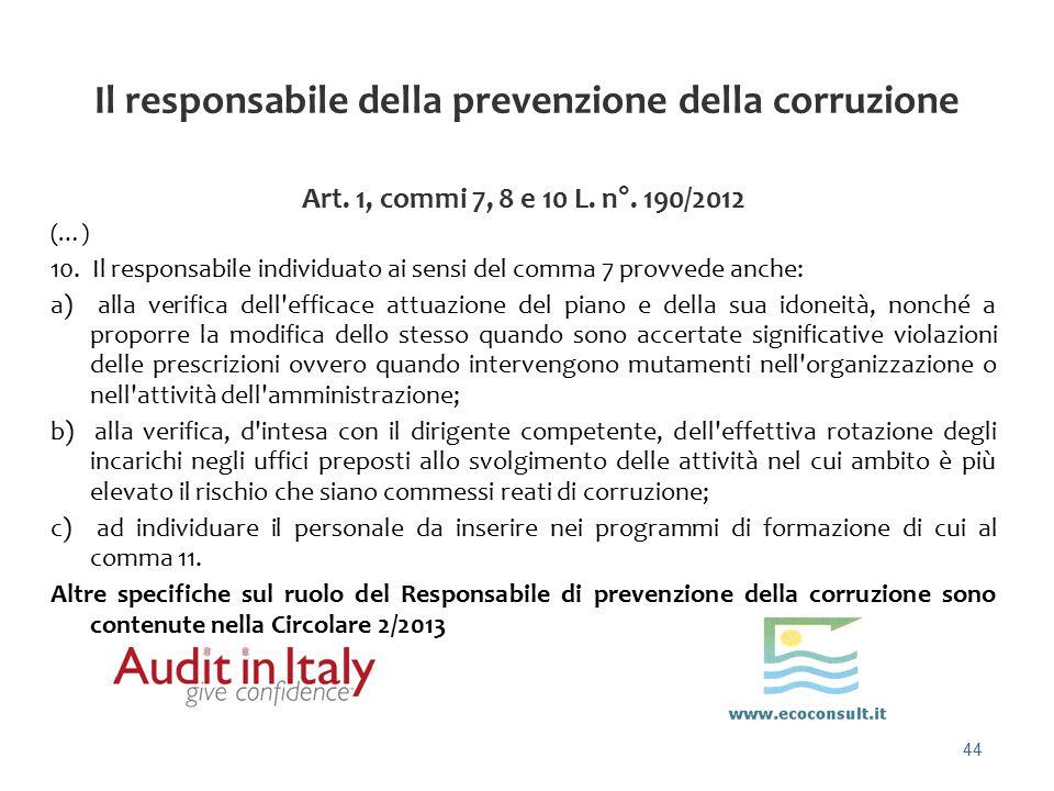 Il responsabile della prevenzione della corruzione