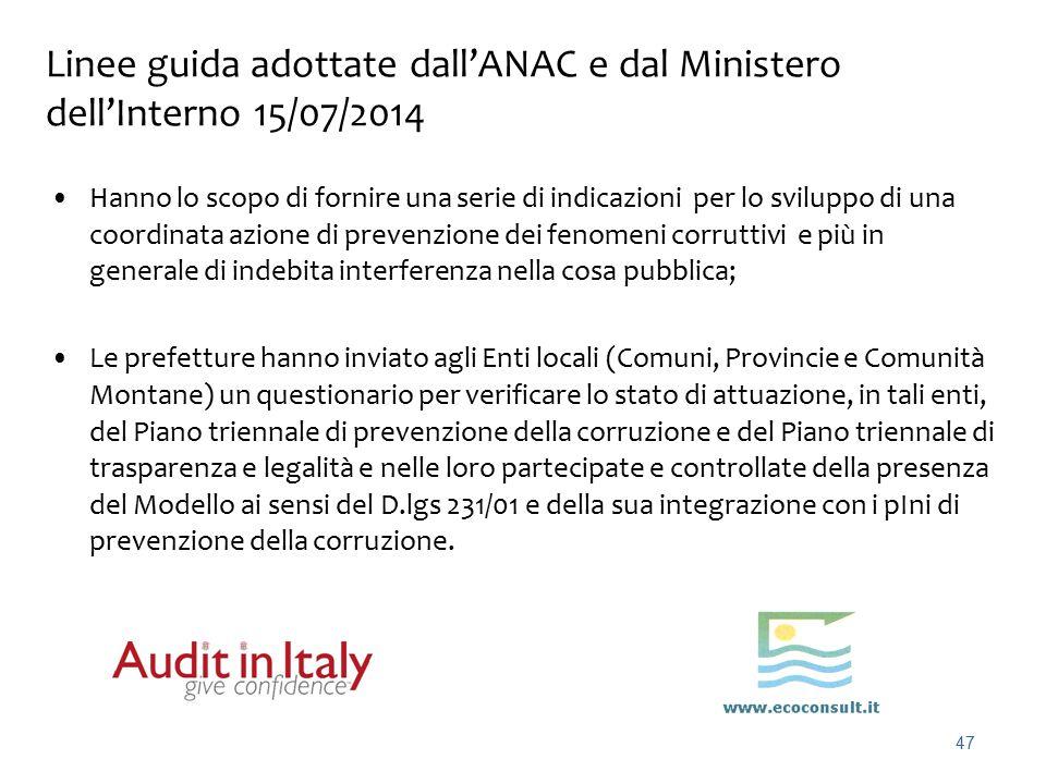 Linee guida adottate dall'ANAC e dal Ministero dell'Interno 15/07/2014