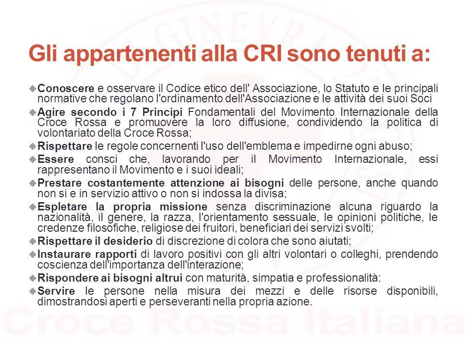 Gli appartenenti alla CRI sono tenuti a: