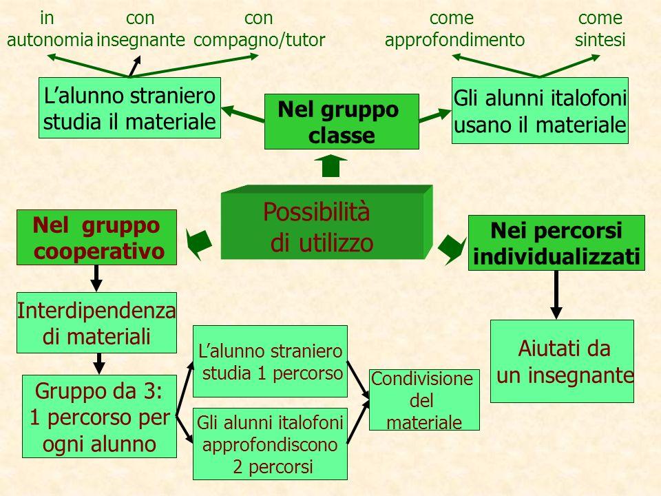 Possibilità di utilizzo L'alunno straniero Gli alunni italofoni