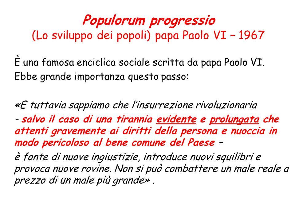 (Lo sviluppo dei popoli) papa Paolo VI – 1967