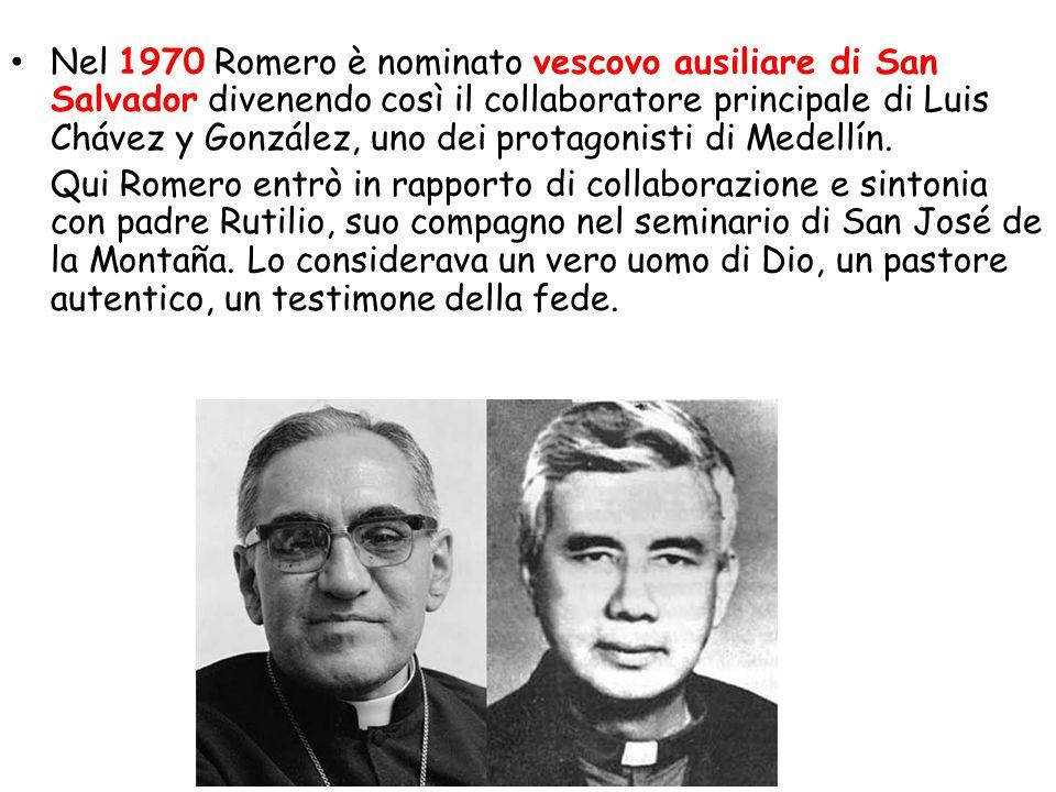 Nel 1970 Romero è nominato vescovo ausiliare di San Salvador divenendo così il collaboratore principale di Luis Chávez y González, uno dei protagonisti di Medellín.