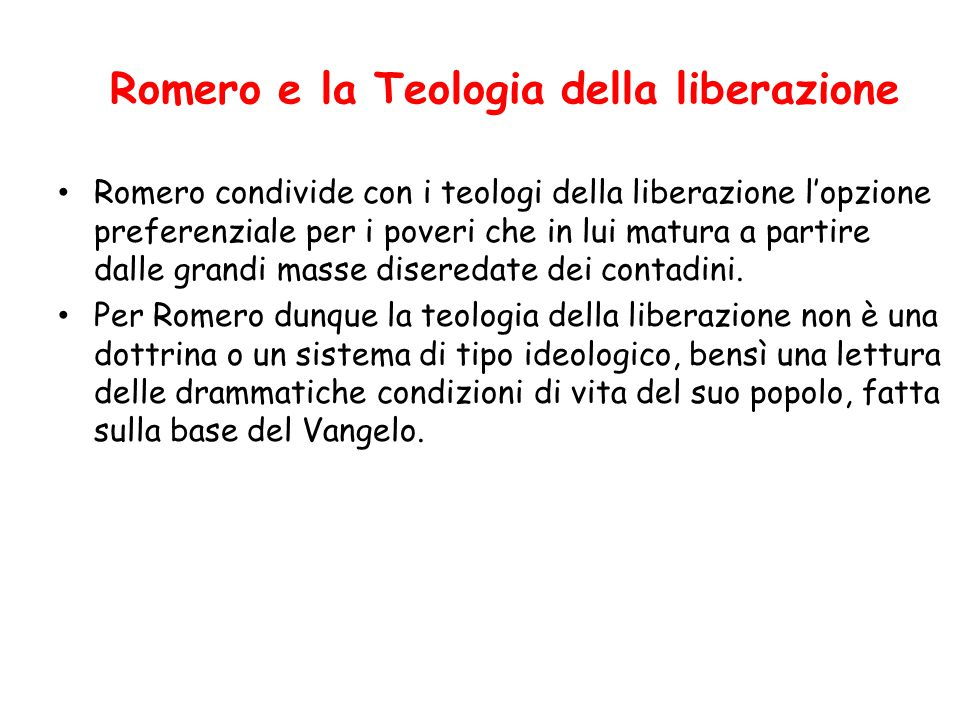 Romero e la Teologia della liberazione