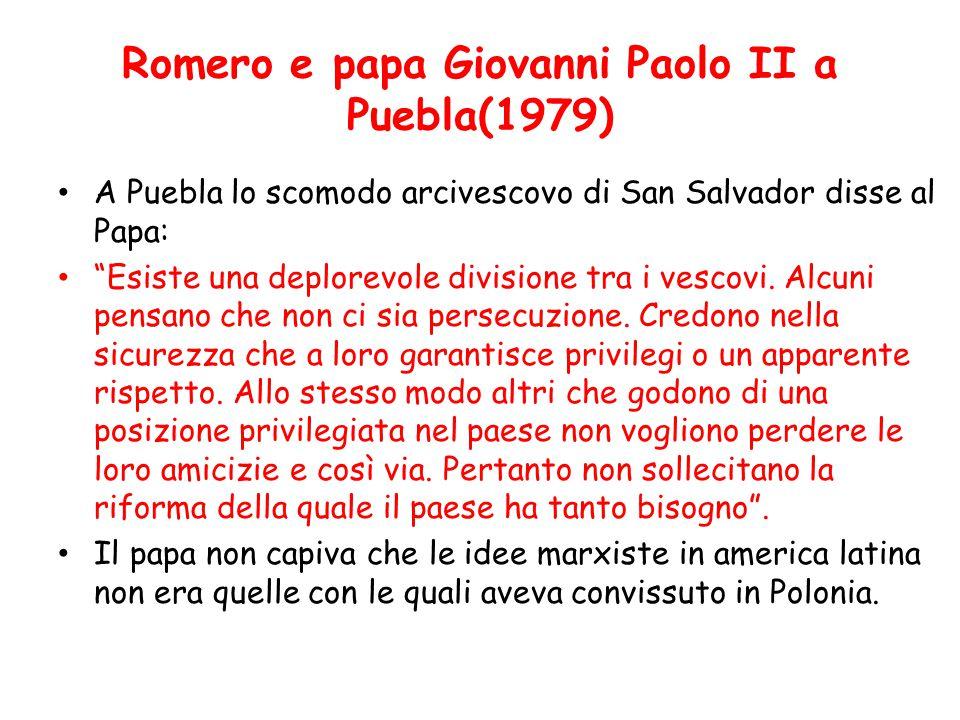 Romero e papa Giovanni Paolo II a Puebla(1979)