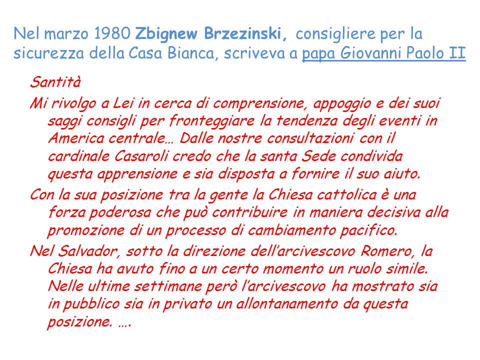 Nel marzo 1980 Zbignew Brzezinski, consigliere per la sicurezza della Casa Bianca, scriveva a papa Giovanni Paolo II
