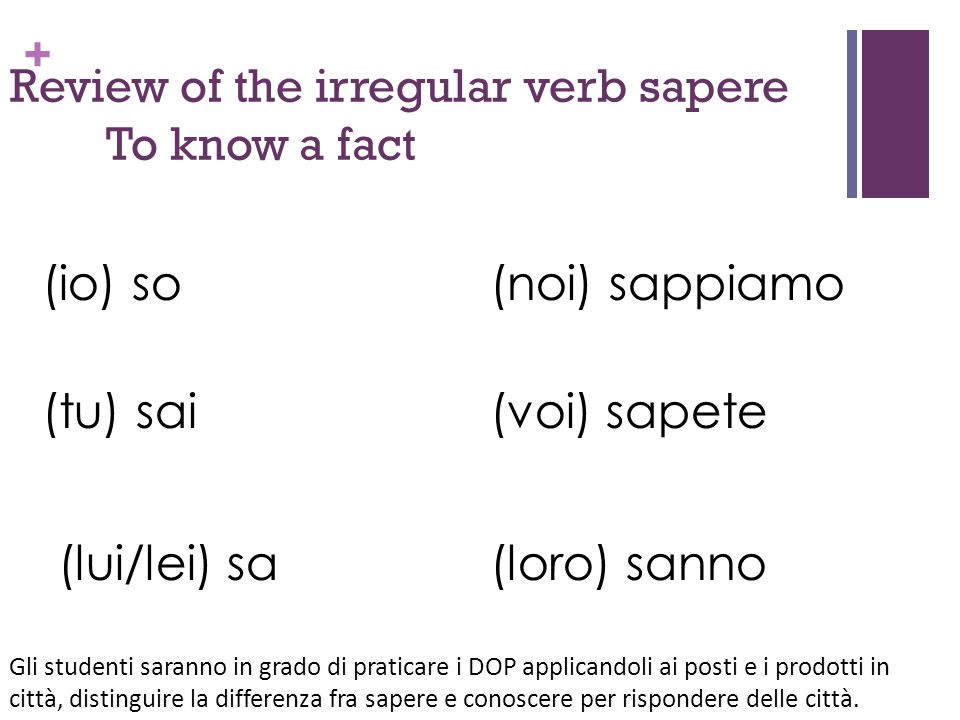 Review of the irregular verb sapere To know a fact