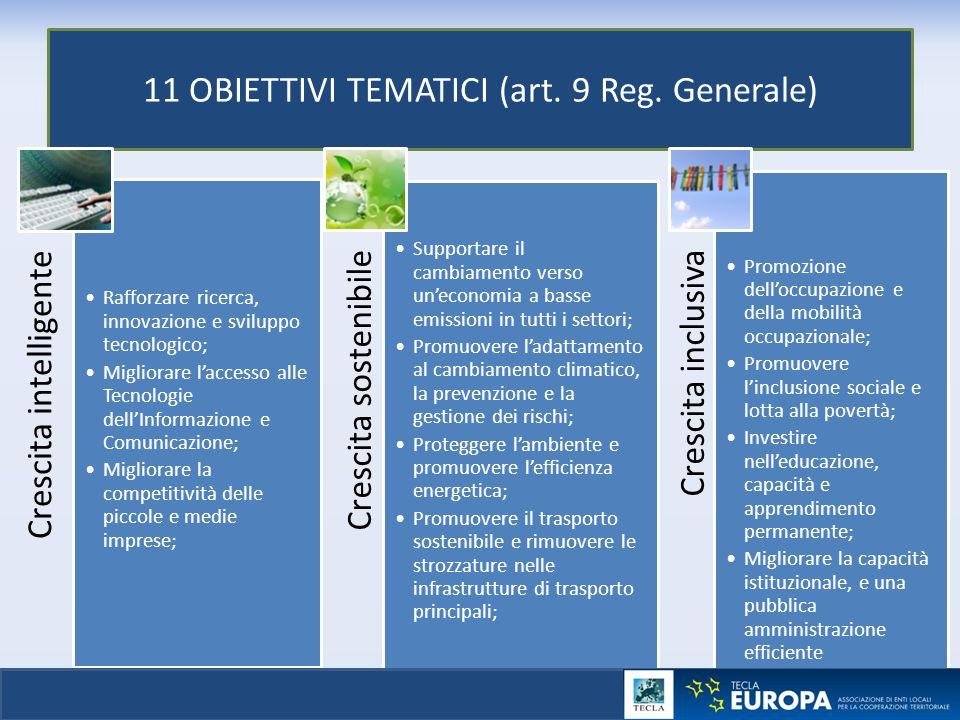 11 OBIETTIVI TEMATICI (art. 9 Reg. Generale)