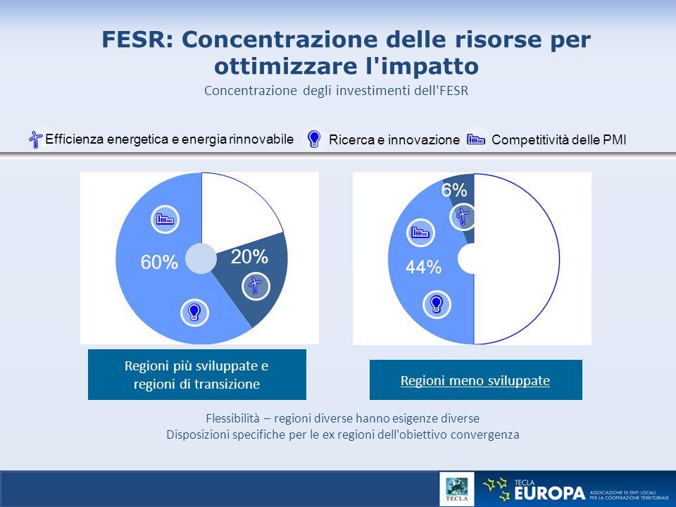 FESR: Concentrazione delle risorse per ottimizzare l impatto