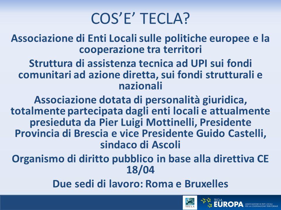 COS'E' TECLA Associazione di Enti Locali sulle politiche europee e la cooperazione tra territori.