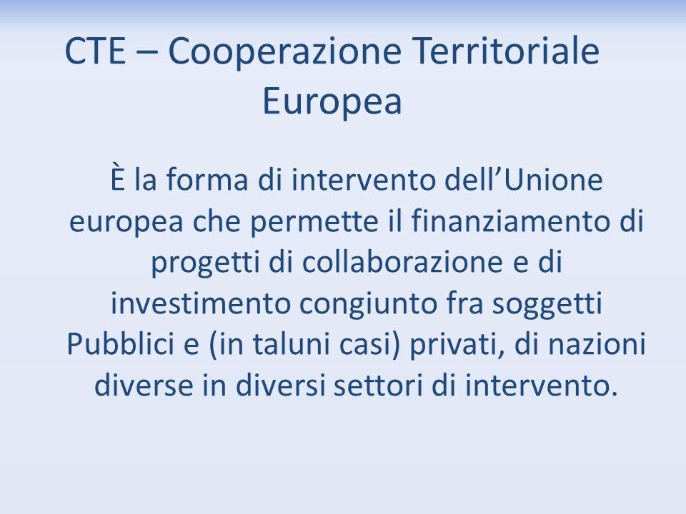 CTE – Cooperazione Territoriale Europea