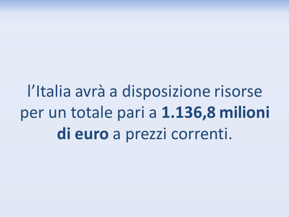 l'Italia avrà a disposizione risorse per un totale pari a 1
