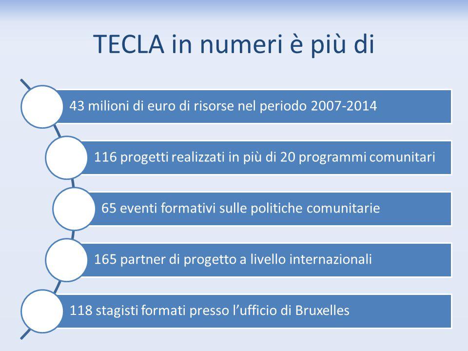 TECLA in numeri è più di 43 milioni di euro di risorse nel periodo 2007-2014. 116 progetti realizzati in più di 20 programmi comunitari.