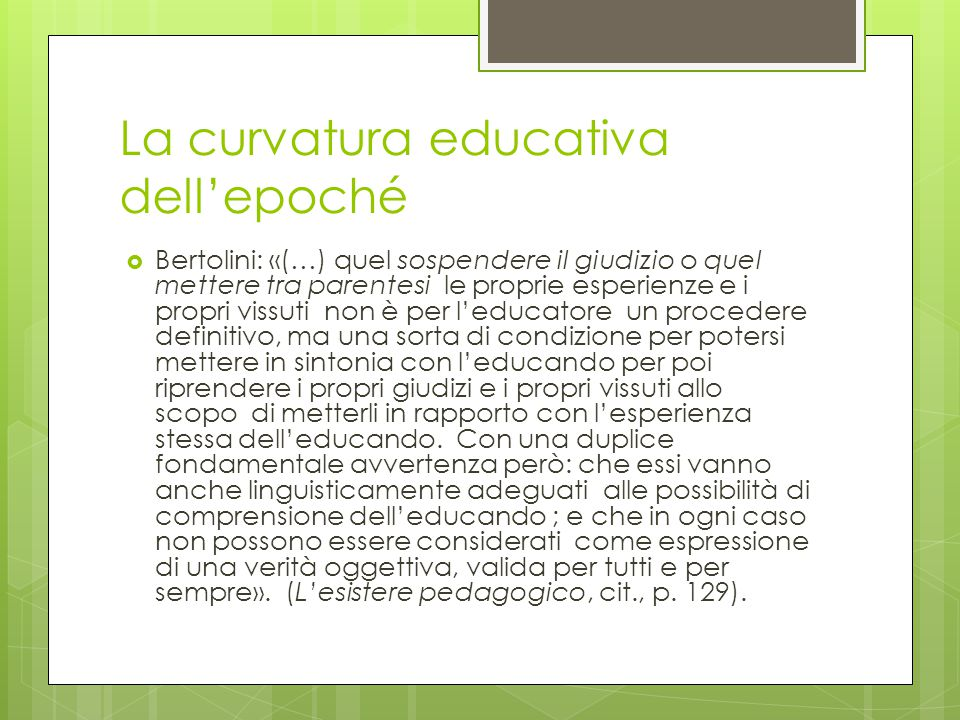 La curvatura educativa dell'epoché