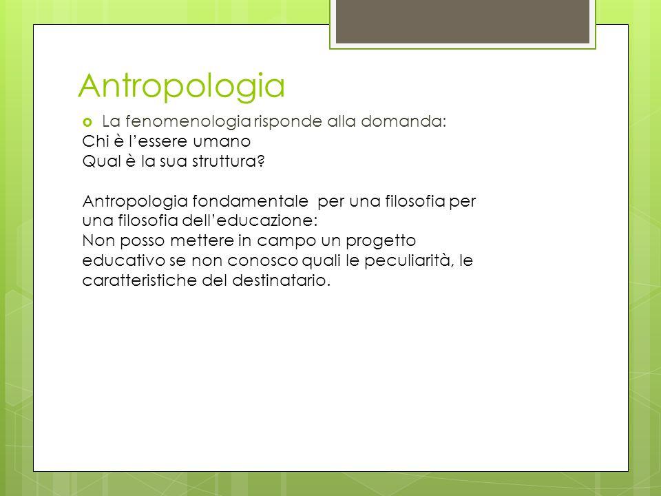 Antropologia La fenomenologia risponde alla domanda: