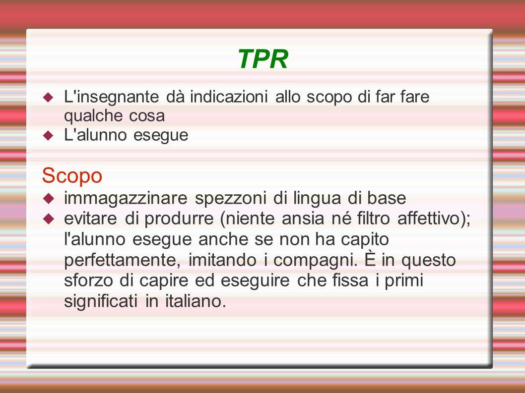 TPR Scopo immagazzinare spezzoni di lingua di base
