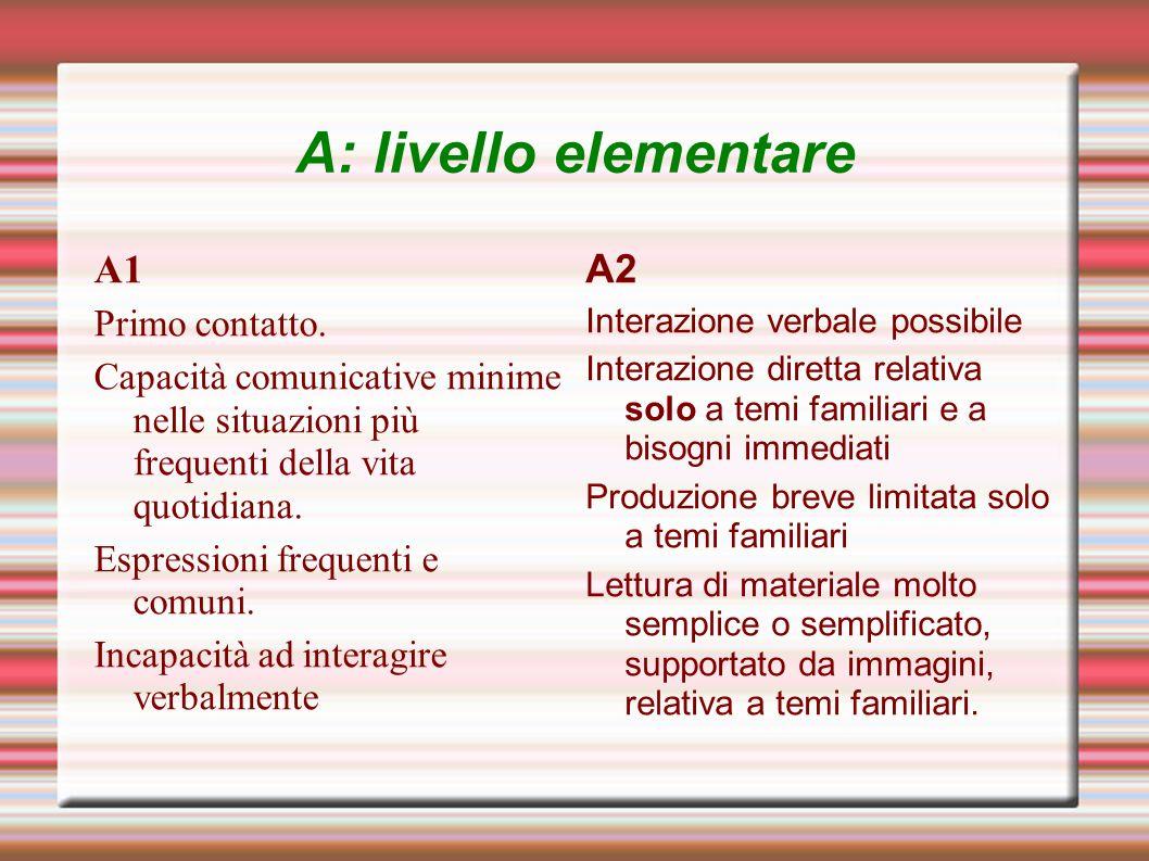 A: livello elementare A1 A2 Primo contatto.