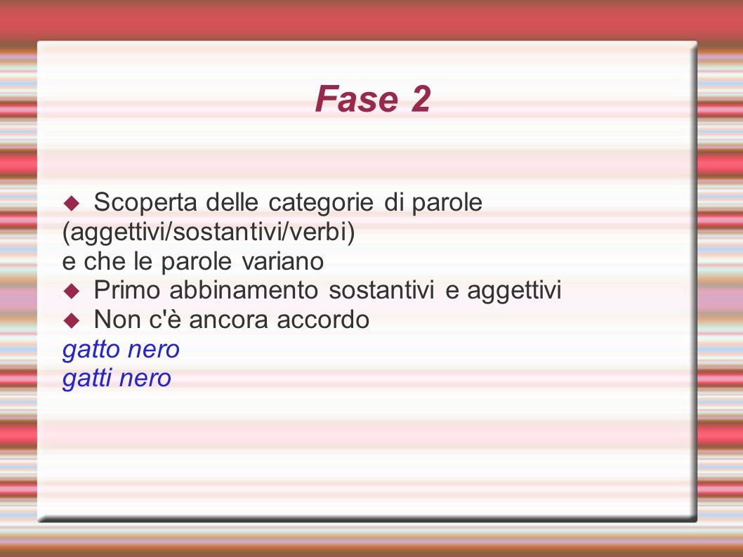 Fase 2 Scoperta delle categorie di parole (aggettivi/sostantivi/verbi)