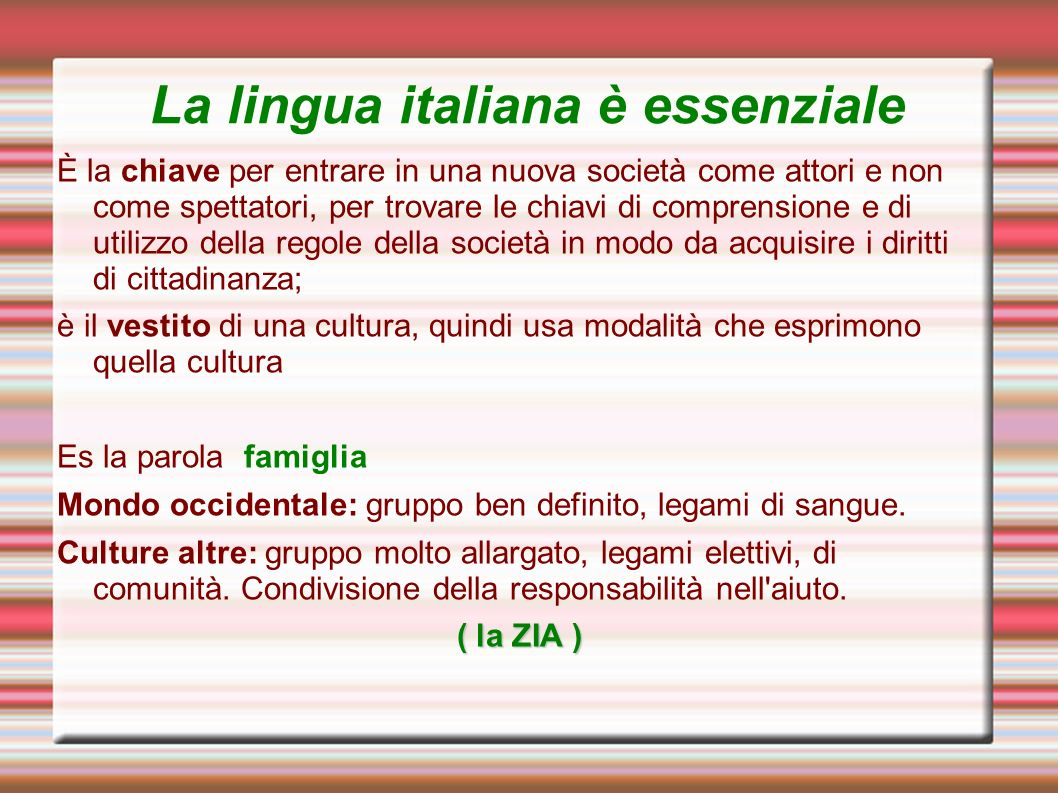 La lingua italiana è essenziale