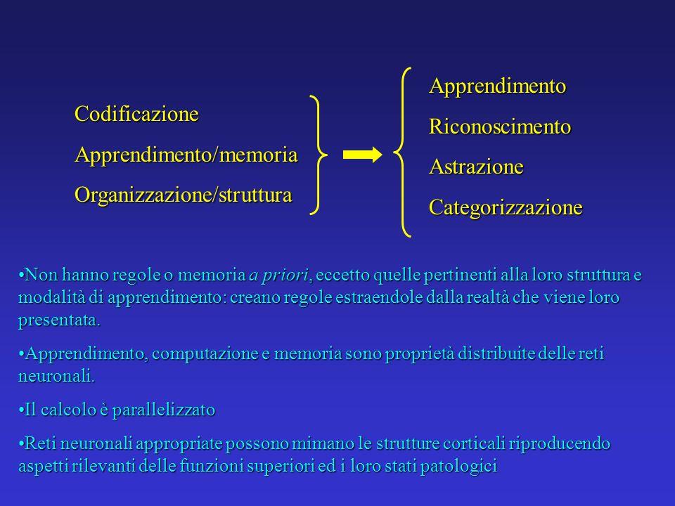 Apprendimento/memoria Organizzazione/struttura