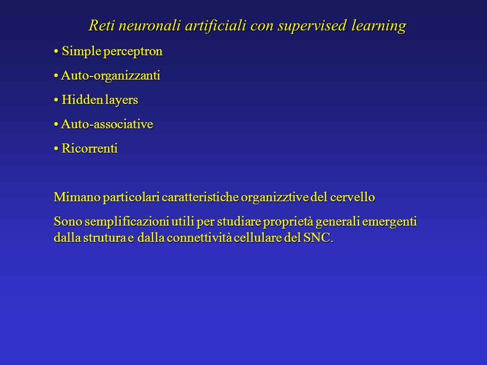 Reti neuronali artificiali con supervised learning