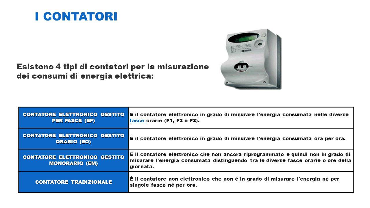 I CONTATORI Esistono 4 tipi di contatori per la misurazione dei consumi di energia elettrica: CONTATORE ELETTRONICO GESTITO PER FASCE (EF)