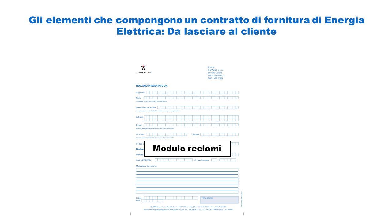 Gli elementi che compongono un contratto di fornitura di Energia Elettrica: Da lasciare al cliente