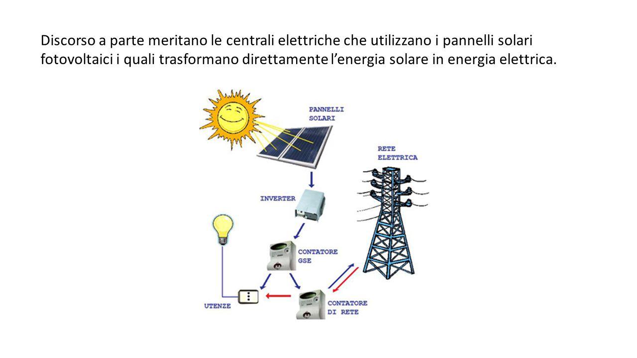 Discorso a parte meritano le centrali elettriche che utilizzano i pannelli solari fotovoltaici i quali trasformano direttamente l'energia solare in energia elettrica.