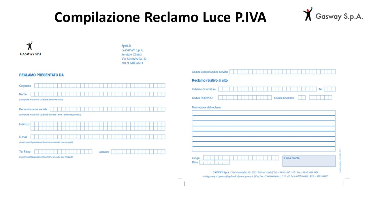 Compilazione Reclamo Luce P.IVA